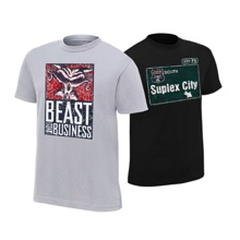 "Brock Lesnar & Paul Heyman ""Beast For Business/Suplex City"" Youth Authentic T-Shirt Package"