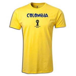 2014 FIFA World Cup Brazil Colombia Supersoft T-Shirt Yellow L