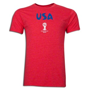2014 FIFA World Cup Brazil USA Supersoft T-Shirt Red L