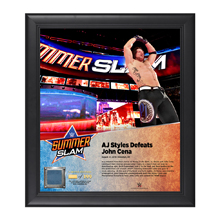 AJ Styles SummerSlam 2016 15 x 17 Framed Plaque w/ Ring Canvas