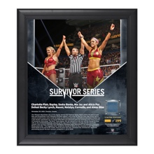 Bayley & Charlotte Survivor Series 2016 15 x 17 Framed Plaque w/ Ring Canvas