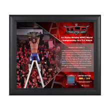 AJ Styles TLC 2016 15 x 17 Framed Plaque w/ Ring Canvas