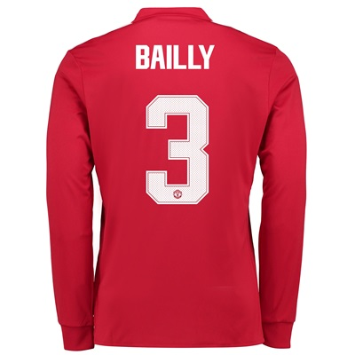 Manchester United Home Cup Shirt 2017-18 – Long Sleeve with Bailly 3 p