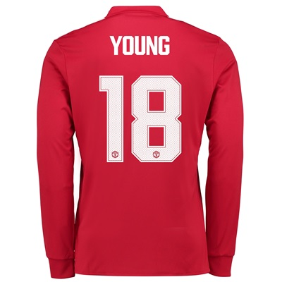 Manchester United Home Cup Shirt 2017-18 – Long Sleeve with Young 18 p