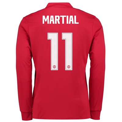 Manchester United Home Cup Shirt 2017-18 – Kids – Long Sleeve with Mar