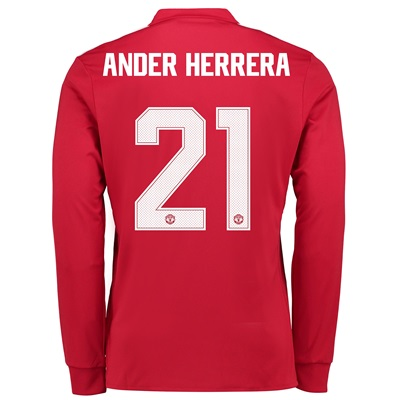 Manchester United Home Cup Shirt 2017-18 – Kids – Long Sleeve with And
