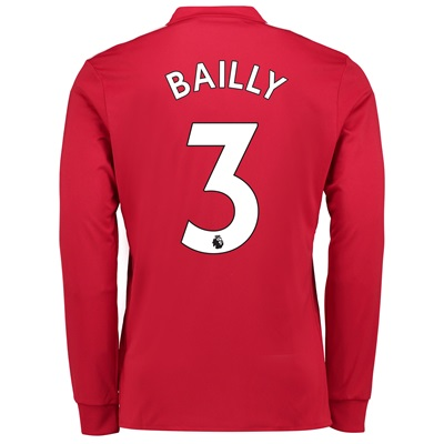 Manchester United Home Shirt 2017-18 – Long Sleeve with Bailly 3 print