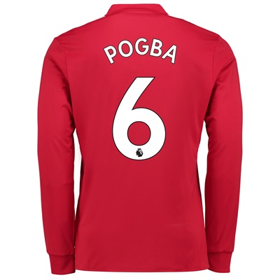 Manchester United Home Shirt 2017-18 – Long Sleeve with Pogba 6 printi