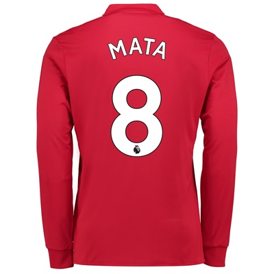 Manchester United Home Shirt 2017-18 – Long Sleeve with Mata 8 printin