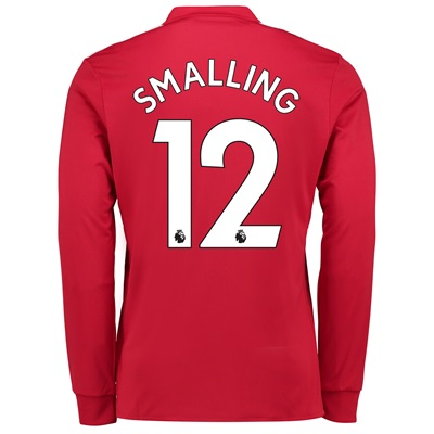 Manchester United Home Shirt 2017-18 – Long Sleeve with Smalling 12 pr