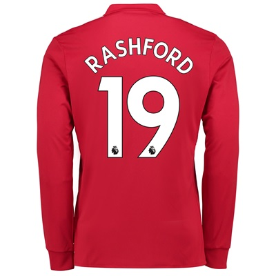 Manchester United Home Shirt 2017-18 – Long Sleeve with Rashford 19 pr