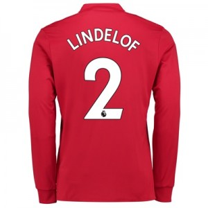 Manchester United Home Shirt 2017-18 – Kids – Long Sleeve with Lindelo