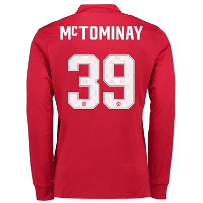 Manchester United Home Cup Shirt 2017-18 – Kids – Long Sleeve with McT