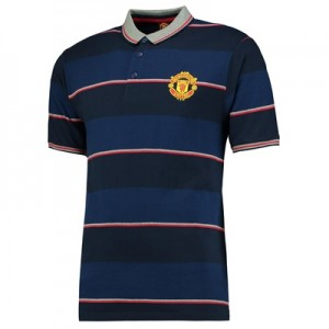 Manchester United Essential Stripe Polo Shirt – Navy – Mens
