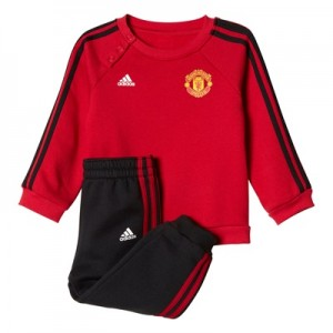 Manchester United 3 Stripe Baby Jog Suit – Red – Black