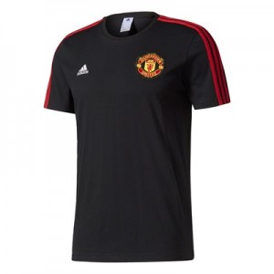 Manchester United 3 Stripe T-Shirt – Black