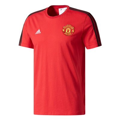 Manchester United 3 Stripe T-Shirt – Red