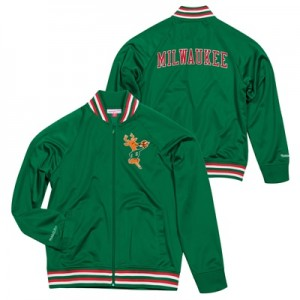 """Milwaukee Bucks Hardwood Classics Top Prospect Track Jacket By Mitchel"""