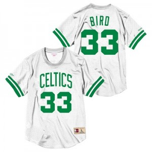 """Boston Celtics Larry Bird Hardwood Classics Mesh Crewneck Jersey By Mi"""