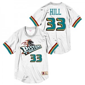 """Detroit Pistons Grant Hill Hardwood Classics Mesh Crewneck Jersey By M"""