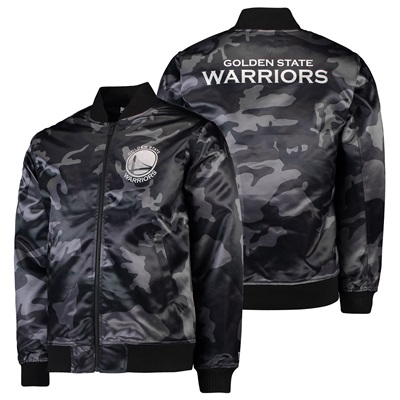 """Golden State Warriors New Era Sateen Bomber Jacket – Mens"""