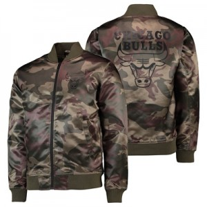"""Chicago Bulls New Era Camo Sateen Bomber Jacket – Mens"""