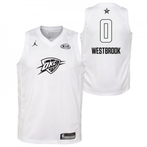 """NBA All-Star 2018 Jordan White Swingman Jersey – Russell Westbrook – Y"""