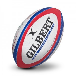 """Gilbert Replica Rugby Ball – Mini – White/Red/Blue"""