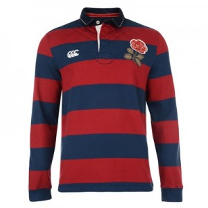 """England 1871 Long Sleeve Wide Stripe Rugby Top Navy"""