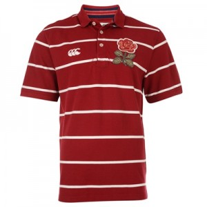 """England 1871 Fine Stripe Polo Red"""