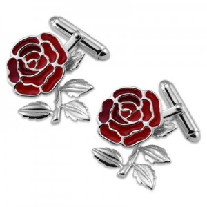 """England Red Rose T Bar Cufflinks Sterling Silver"""
