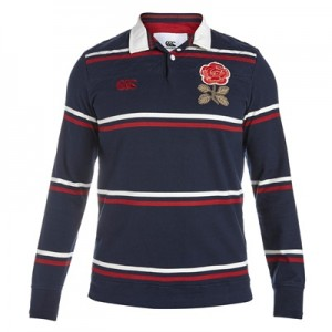 """England Rugby 1871 Long Sleeve Stripe Loop Collar Rugby Jersey Navy"""