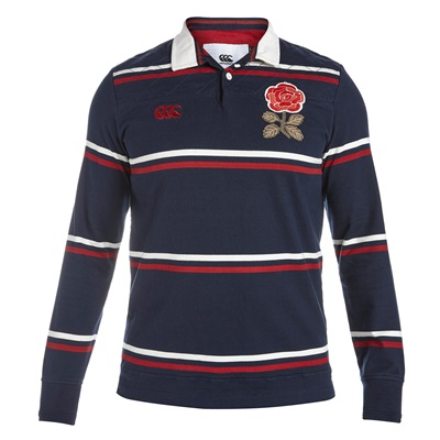"""""""England Rugby 1871 Long Sleeve Stripe Loop Collar Rugby Jersey Navy"""""""
