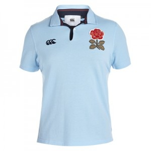 """England Rugby 1871 Short Sleeve Loop Collar Pique Polo Sky Blue"""