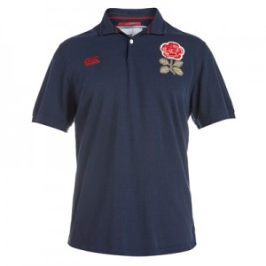 """England Rugby 1871 Short Sleeve Loop Collar Pique Polo Navy"""