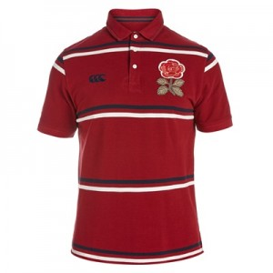 """England Rugby 1871 Short Sleeve Stripe Pique Polo"""