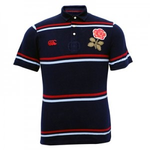 """England Rugby 1871 Short Sleeve Stripe Pique Polo Navy"""