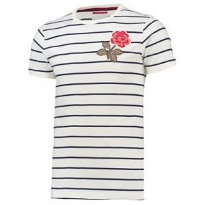 """England Rugby 1871 Rose Stripe T-Shirt Cream"""