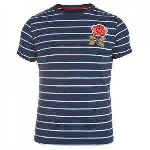 """England Rugby 1871 Rose Stripe T-Shirt Navy"""