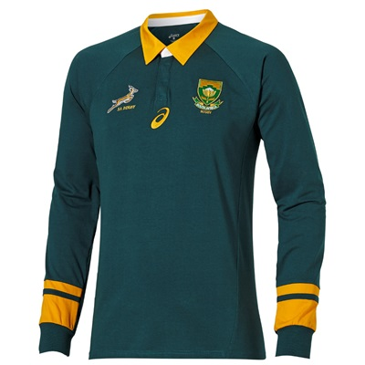 """South Africa Springboks Rugby 2015 Classic Fan Long Sleeve Jersey Gree"""