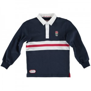 """England Classics Stripe Rugby Shirt – Navy – Junior"""