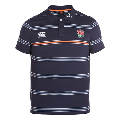 """England Rugby Cotton Stripe Polo – Graphite"""