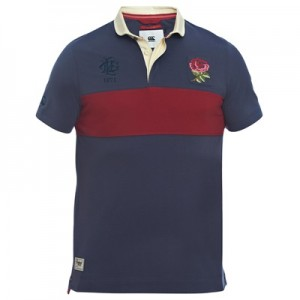 """England Rugby Since 1871 Chest Block Polo – Graphite/Rhumba Red"""