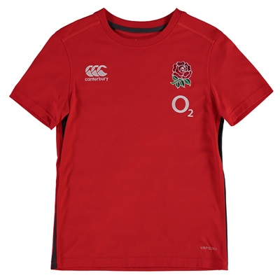 """England Rugby Vapodri Cotton Training T-Shirt – Fiery Red – Kids"""