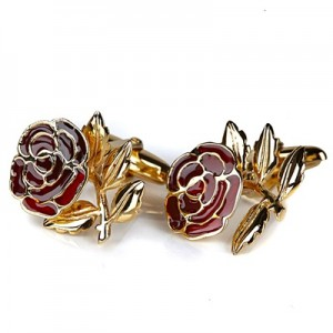 """England Handmade Gold Plated Rose T-Bar Cufflinks – Limited Edition"""