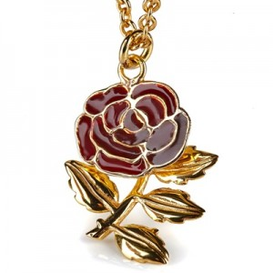 England Handmade Gold Plated Rose Pendant Necklace - Limited Edition