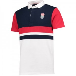 """England Classics Block Polo Shirt – White/Navy/Red"""