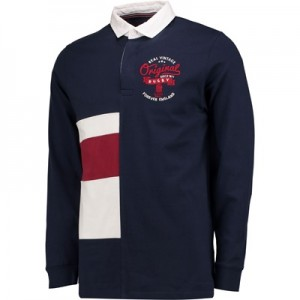 """England Authentics Real Vintage Half Stripe Rugby – Navy"""