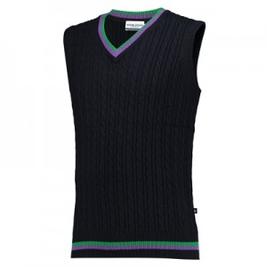Wimbledon Sleeveless Cable Knit Sweater – Mens – Navy