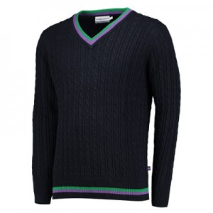 Wimbledon Cable Knit Sweater – Mens – Navy